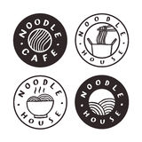 Noodle cafe badges. Vector hand drawn illustration Royalty Free Stock Images