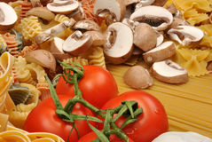 Noodle and chestnut mushroom Stock Image