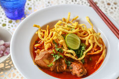 Noodle in Chicken Curry. A Noodle in Chicken Curry Royalty Free Stock Image