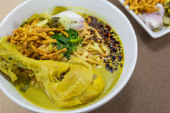 Noodle in Chicken Curry (Kao Soi Kai) Royalty Free Stock Photo