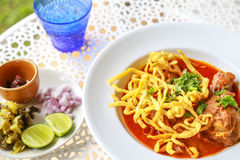 Noodle in Chicken Curry. On the table Royalty Free Stock Photo