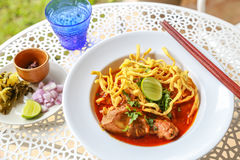 Noodle in Chicken Curry. On the table Royalty Free Stock Photos