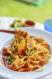 Noodle in Chicken Curry. On the table Royalty Free Stock Image