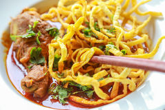 Noodle in Chicken Curry. On the table Royalty Free Stock Photography