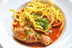 Noodle in Chicken Curry. Thai food Royalty Free Stock Photography