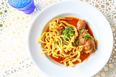 Noodle in Chicken Curry. Thai food Stock Photos