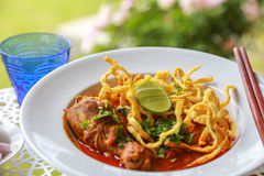 Noodle in Chicken Curry. Thai food Royalty Free Stock Images