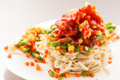 Noodle with chicken Royalty Free Stock Photos