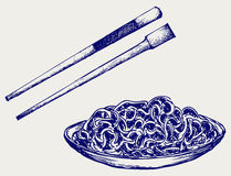 Noodle with chopsticks Stock Images
