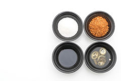 noodle condiments (sugar, vinegar, fish sauce, chilli powder) Stock Photos