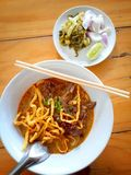 Noodle curry soup stock photo