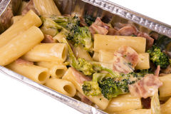 Noodle dish. Pasta with broccoli and ham Stock Images
