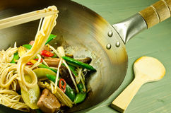 Noodle and duck stir fry Stock Photography