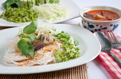 Noodle eaten with curry. Thai style noodle eaten with curry Stock Image