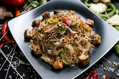 Noodle tofu recipe food ingredient vietnamese meal. Noodle fried tofu and vegetable dish recipe. meal food ingredients and cooking process. vietnamese cuisine Stock Image