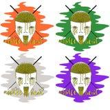 Noodle head logo for cafe or noodle on different backgrounds. Creative noodle head logo for cafe or noodle on different backgrounds royalty free illustration
