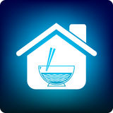 Noodle house. Home with a noodle icon Stock Image