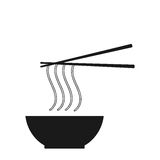Noodle icon on the white background. Royalty Free Stock Images