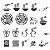 Noodle icons set. Vector illustrations Stock Image