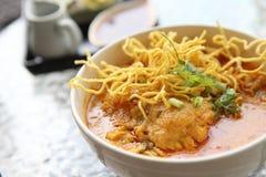 Noodle Khao soi , Thai food. Noodle Khao soi on a bowl , Thai food stock photo