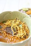 Noodle Khao soi , Local Thai food. In close up royalty free stock photography