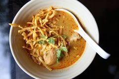 Noodle Khao soi, Thai food. Noodle Khao soi on a bowl, Thai food royalty free stock images