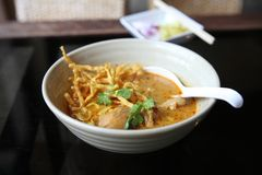 Noodle Khao soi, Thai food. Noodle Khao soi on a bowl , Thai food stock photos