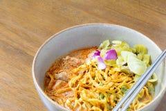 Noodle Khao soi , Thai food. On wood background Stock Images