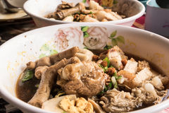 Noodle-legged chicken food for everybody in thailand. Royalty Free Stock Image