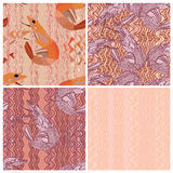 Noodle line prawn set seamless pattern Stock Photo
