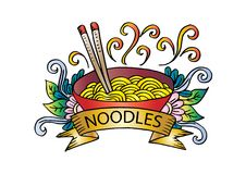 Noodle logo design. With white background Royalty Free Stock Image