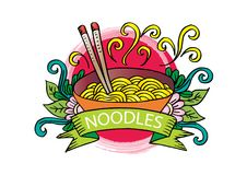 Noodle logo design. With white background Stock Photo
