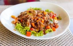 Noodle macaroni with pork sauce thai style Royalty Free Stock Photo