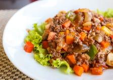 Noodle macaroni with pork sauce thai style Stock Photography