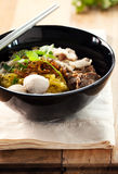 Noodle with meat ball ,boil pork ,thai food. Noodle with meat ball ,boil pork and vegetable,thai food royalty free stock photography