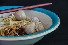 Noodle with meat ball. A delicious noodle with meat ball ,with chopstick stock photos