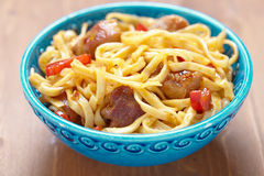 Noodle with meat and pepper Royalty Free Stock Photography