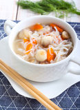 Noodle and mushroom soup Stock Photos