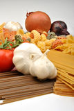 Noodle and organic garlic Royalty Free Stock Image
