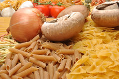 noodle with organic mushroom and onion Stock Image
