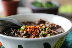 The noodle with pig blood soup mix with pork and vegetable Stock Image