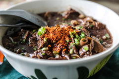 The noodle with pig blood soup mix with pork and vegetable Royalty Free Stock Photography