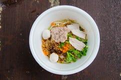 Noodle pork in bowl. Noodle pork in foam bowl Stock Photography