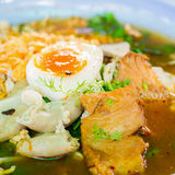 Noodle with pork and egg boiled. Delicious Thaifood Royalty Free Stock Photos