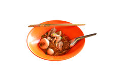 Noodle. With pork in orange bowl Royalty Free Stock Photo