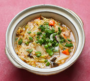 Noodle. rice noodles soup with chicken and vegetable Royalty Free Stock Image