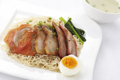 Noodle with roasted duck and pork Royalty Free Stock Image