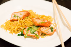 Noodle and Roasted Red Pork. A Menu in Chinese Food Royalty Free Stock Photo