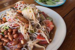 Noodle salad ,papaya salad or Som tum. Is local food Northeast of Thailand Royalty Free Stock Images