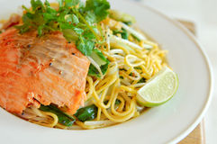 Noodle with salmon stock photography